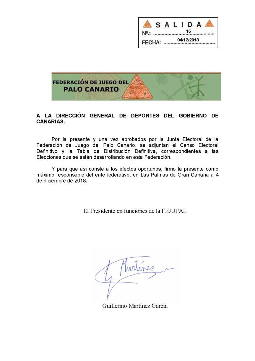 17 Comunicación a la Dirección General de Deportes Censo Definitivo y Tabla Definitiva