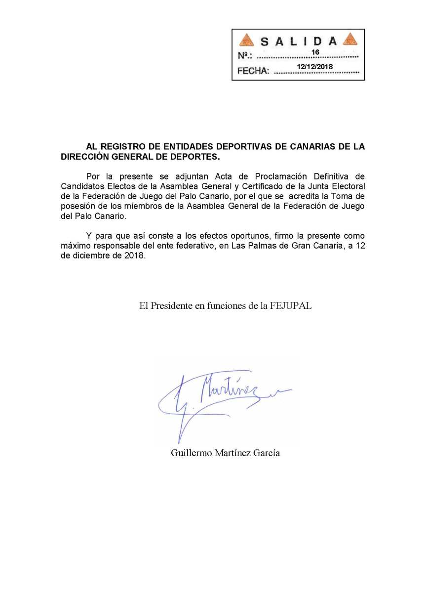 22 Comunicacion Registro entidades deportivas proclamacion definitiva y toma posesión miembros asamblea