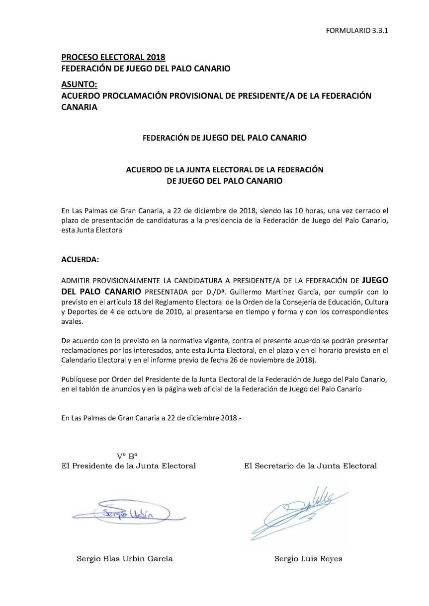26 Acuerdo Proclamacion Provisional candidaturas Presidencia