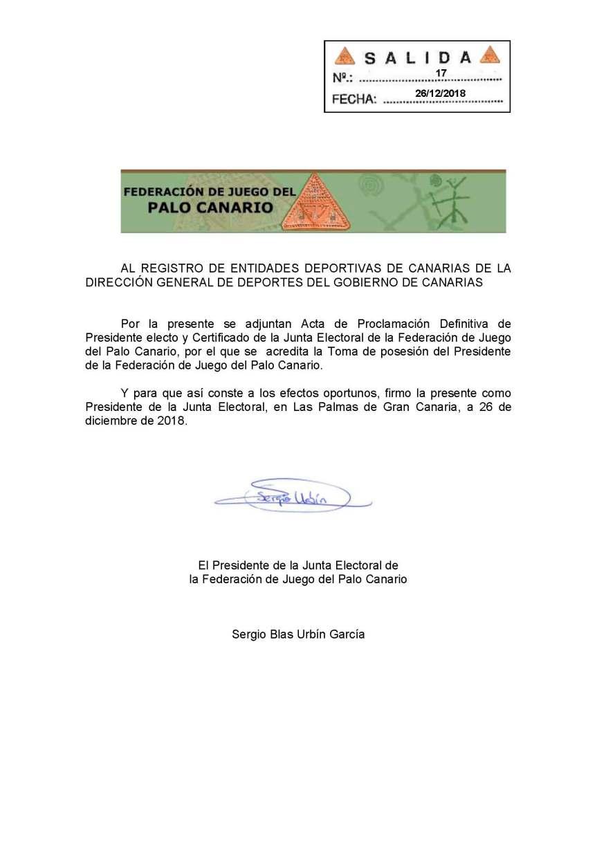 30 Comunicacion Registro entidades deportivas proclamacion definitiva y toma posesión presidente electo